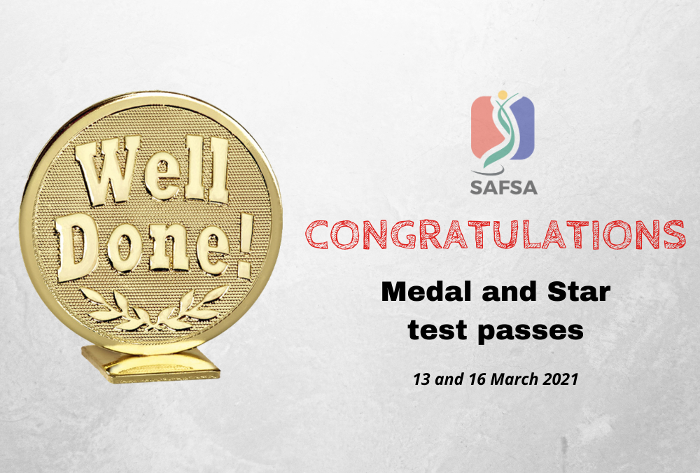 MEDAL TEST PASSES – 13 and 16 March 2021